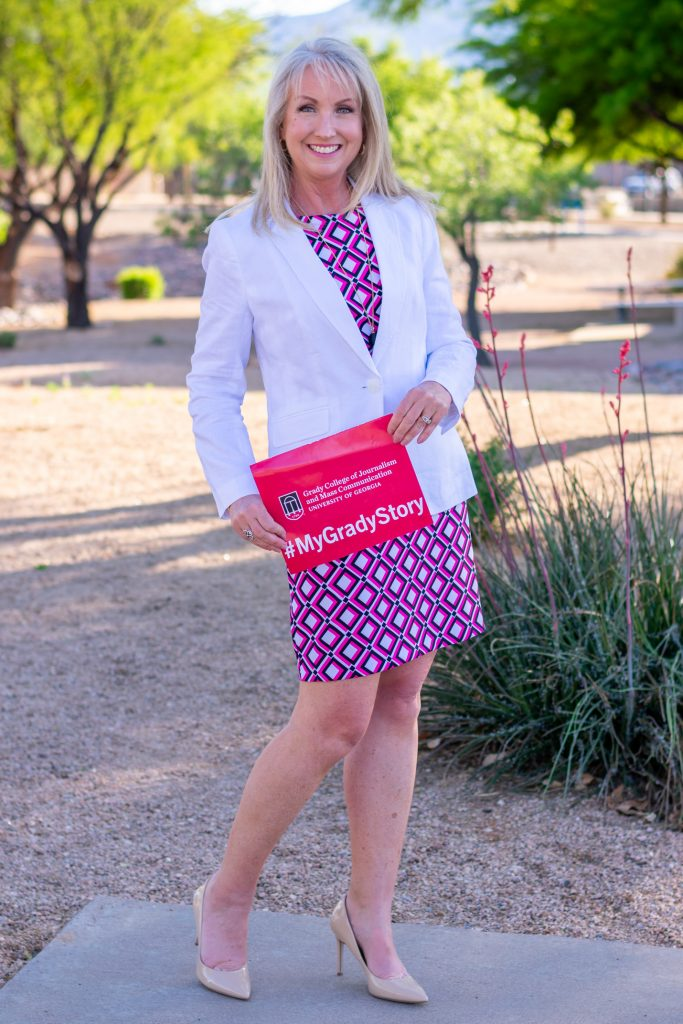white blazer with a colorful sheath dress