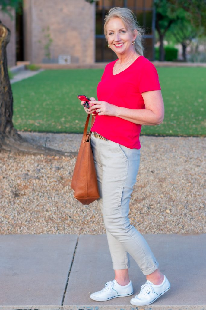 Red Tee with Khaki Pants