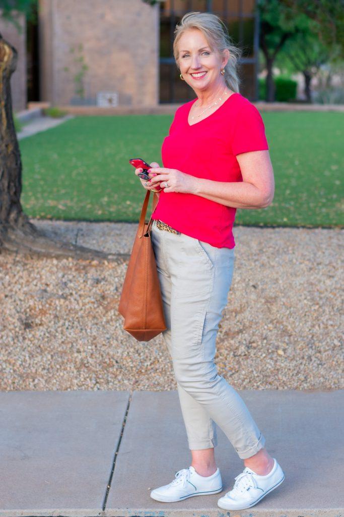 Red Tee with Khaki Pants