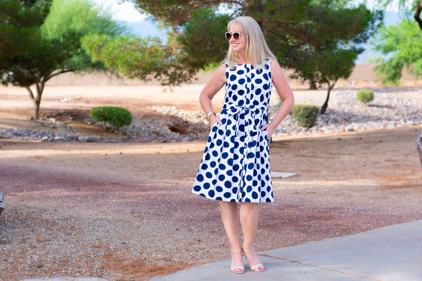 Navy Polka Dot Shift Dress from Talbots