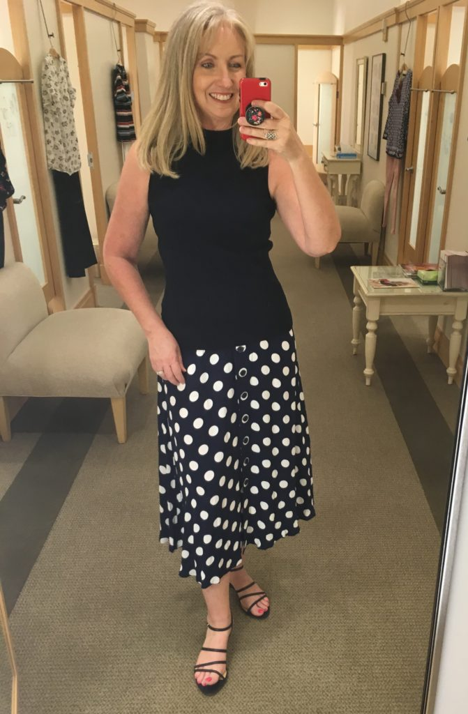 navy white polka dot skirt