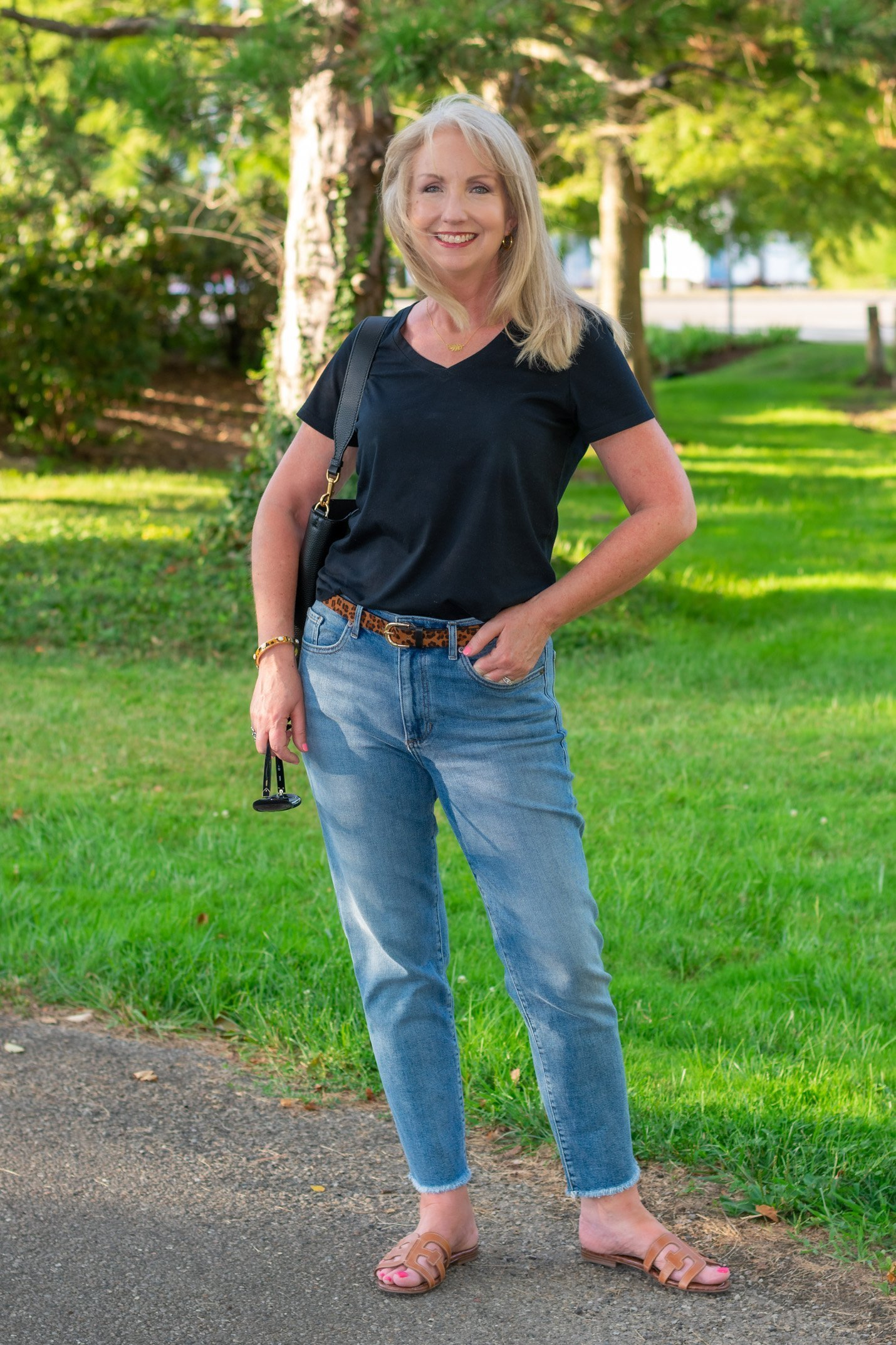 Transition Into Fall with a Black Tee and Jeans