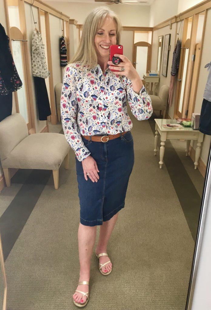 Denim Skirt with a Button Up Shirt