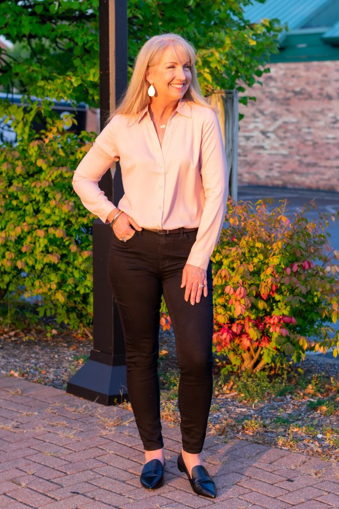 Blush Blouse + Black Jeans