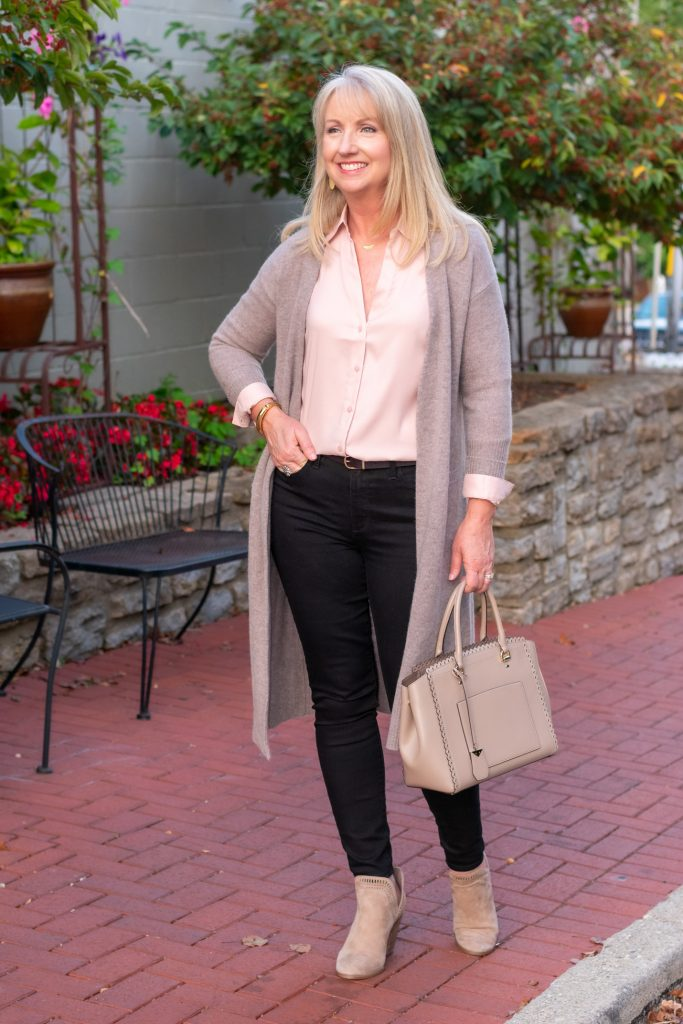 Blush Blouse + Black Jeans 3 Ways