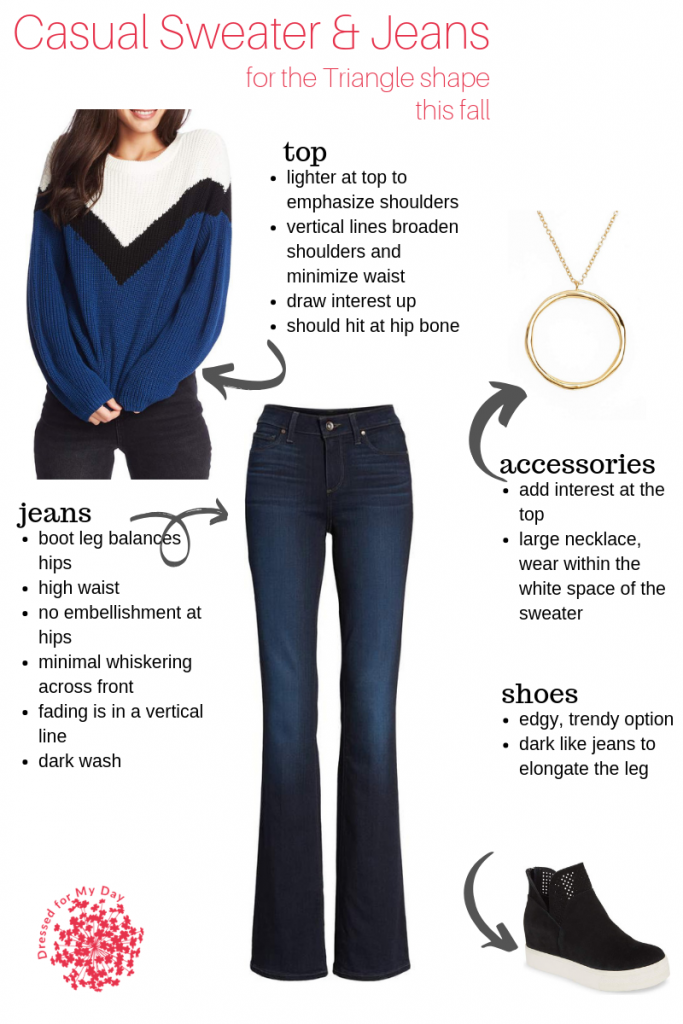 Casual Sweater and Jeans -Triangle Shape this Fall