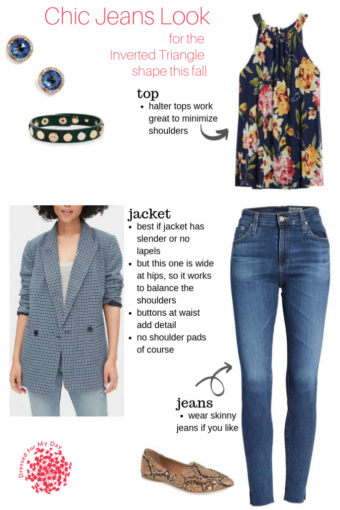 Chic Jeans Look for Inverted Triangle Shape for Fall