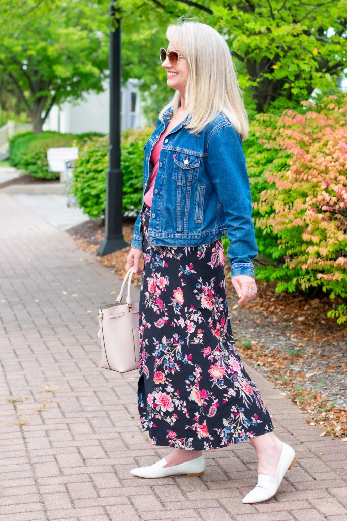 Dark Floral Skirt Styled 3 Ways for Fall