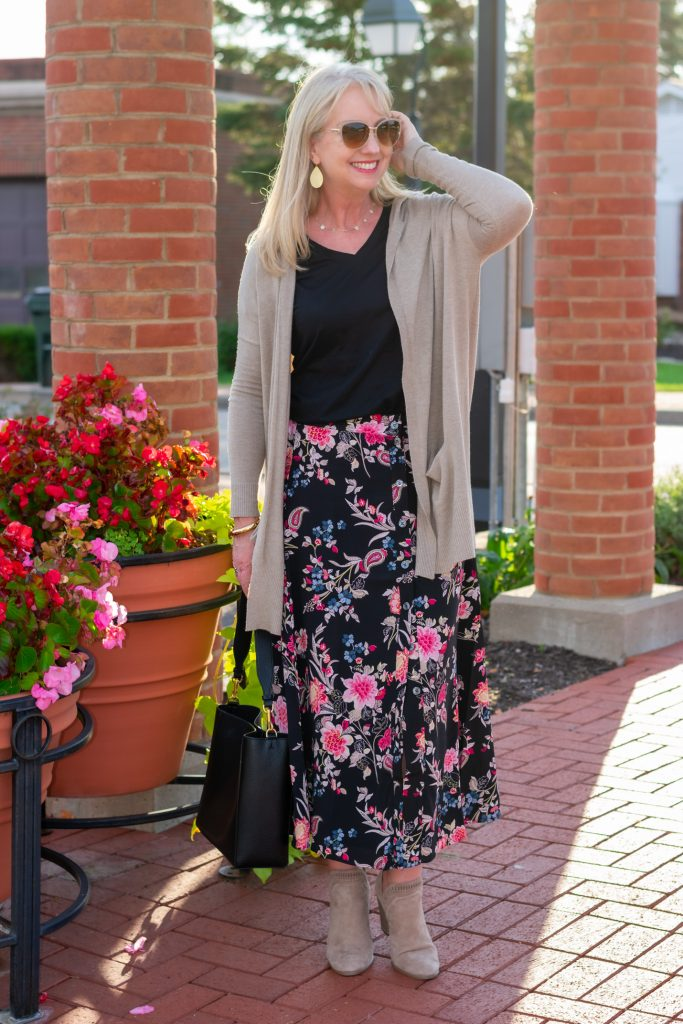 Dark Floral Skirt Styled with taupe hoodie