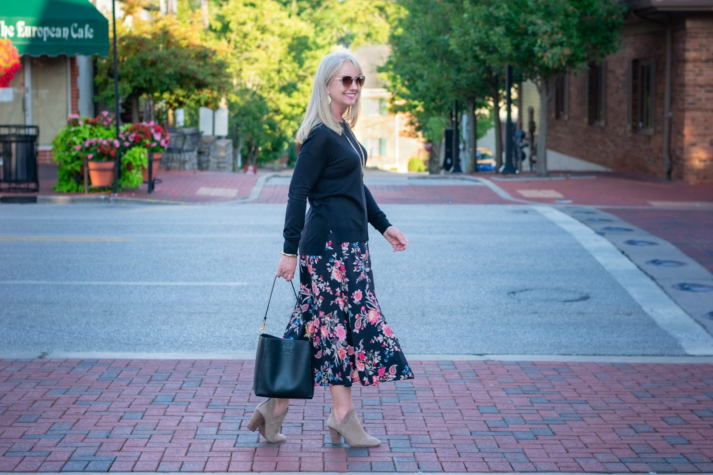 All black with Floral Skirt