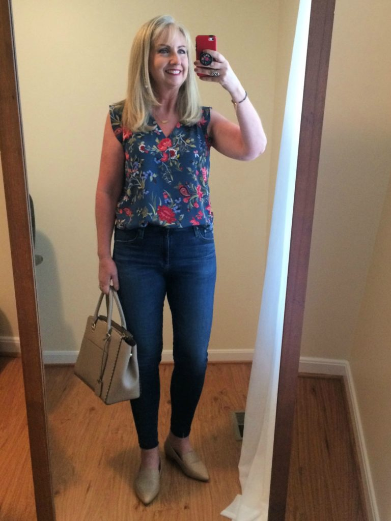 Floral Blouse and Jeans