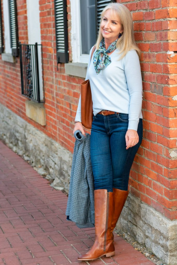 Styling Fall Colors Tone on Tone in Blue with boots