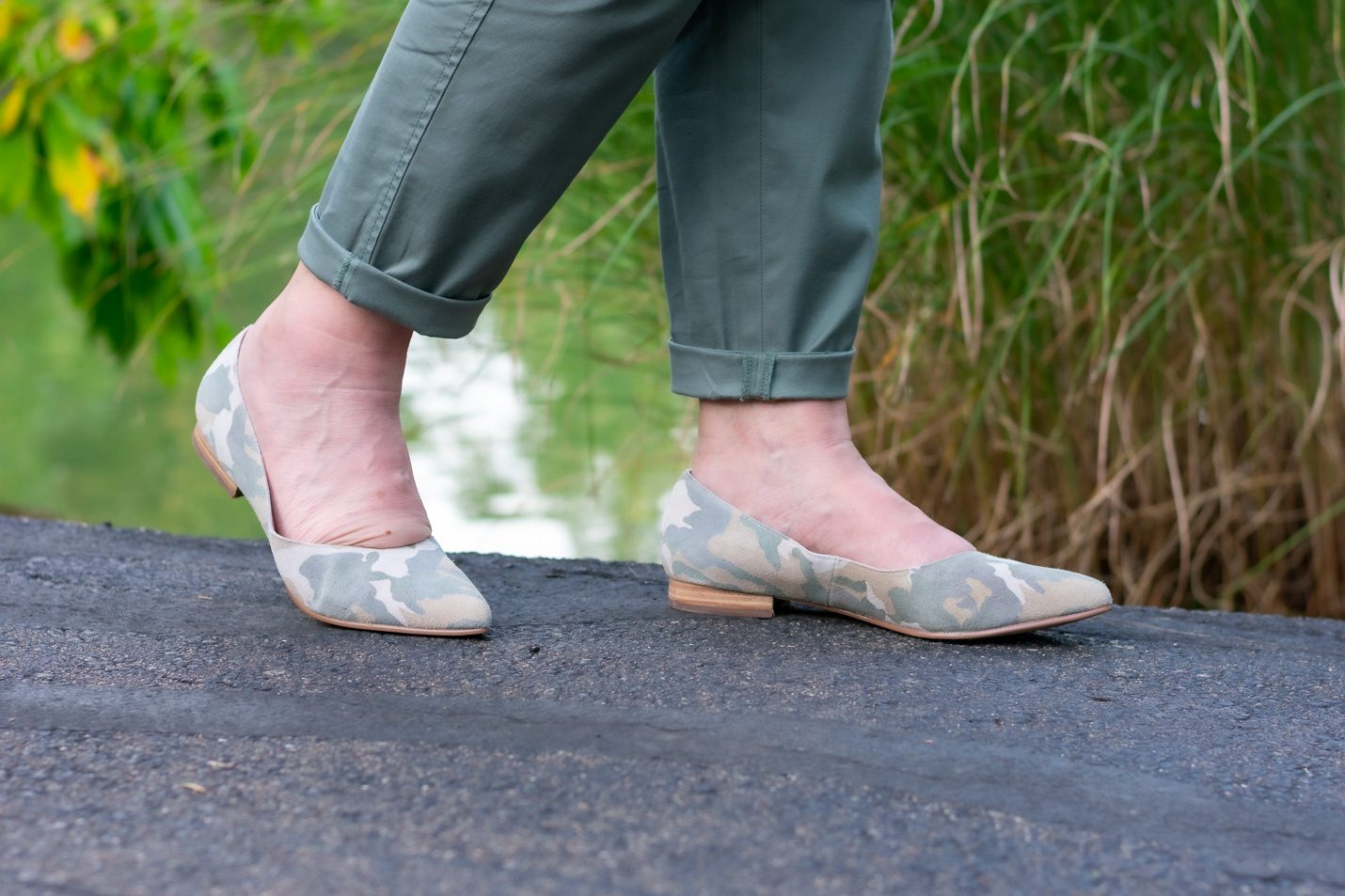 Camo suede pointy toe flats