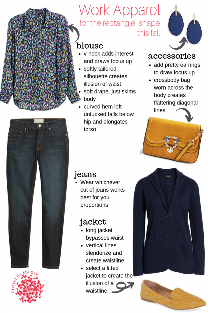 Casual Jeans and Blazer for Rectangle Shape this Fall