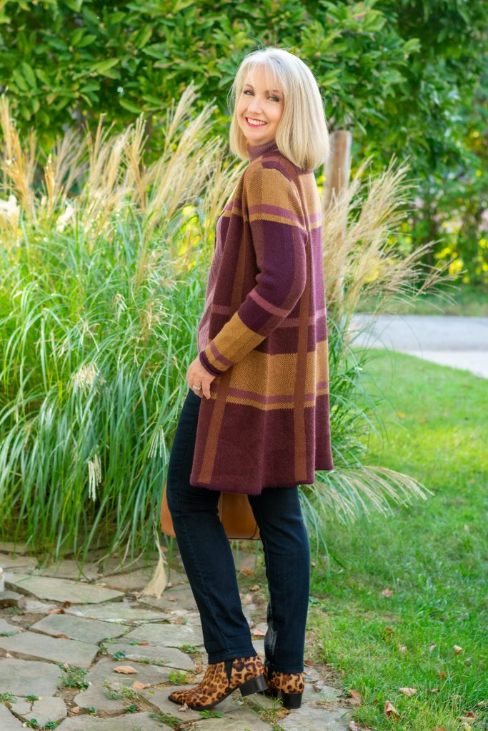 Mauve Pullover Sweater with Jeans and Coatigan