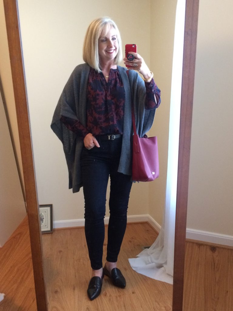 Dark Floral blouse and cashmere wrap