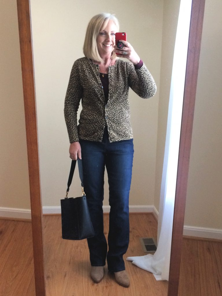 leopard print cardigan and  jeans
