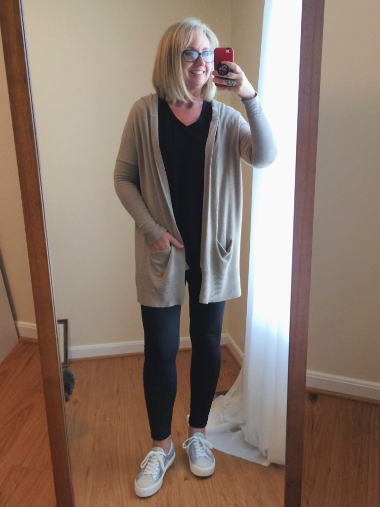 Leggings and cardigan