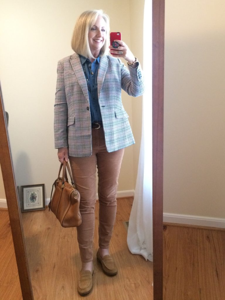 Plaid blazer and cords