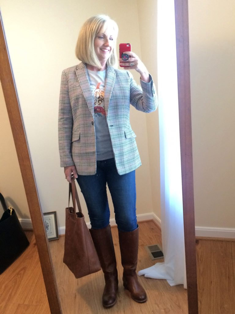 Plaid Blazer and t-shirt