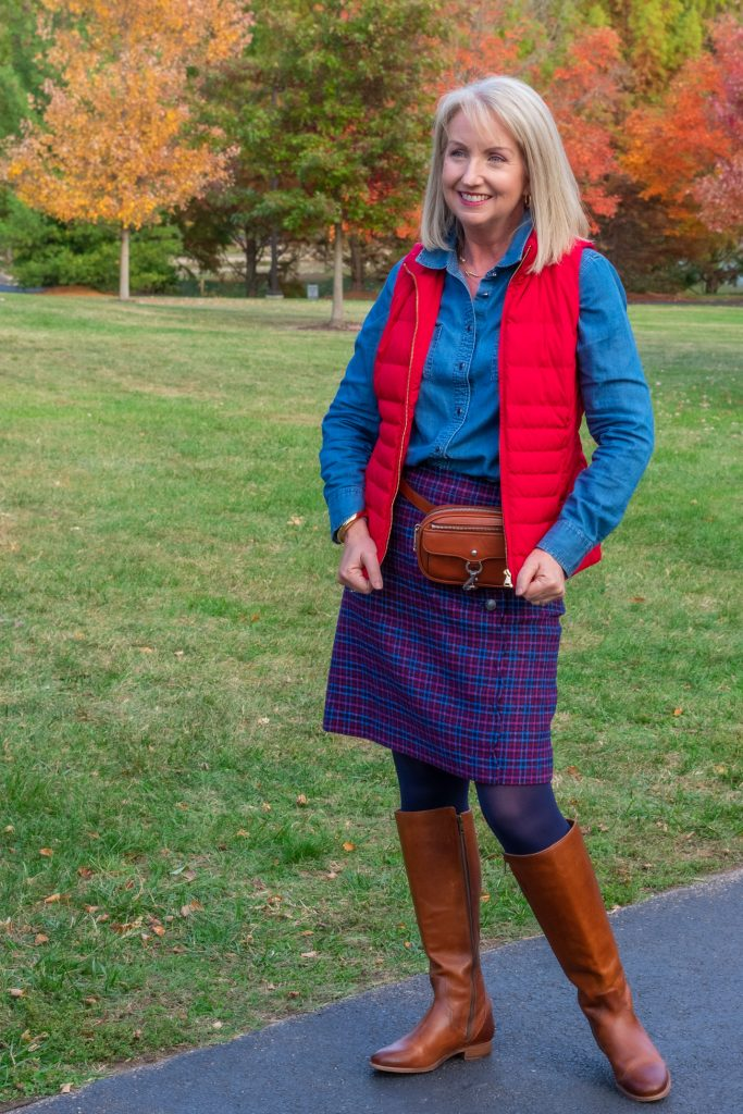 Plaid Wool Skirt and Chambray Shirt