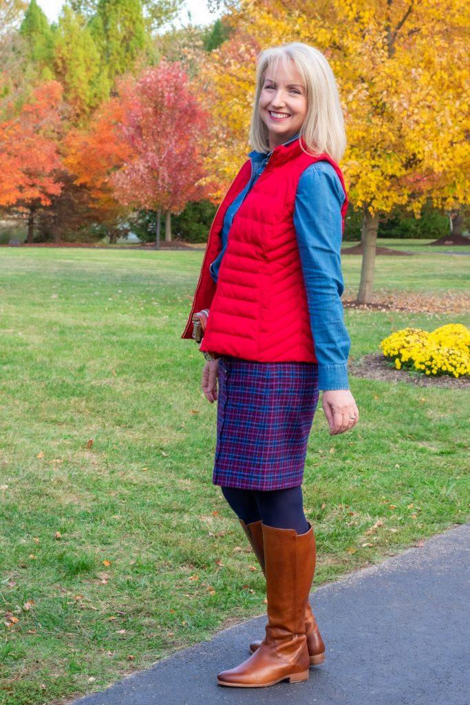 Plaid Wool Skirt and Chambray Shirt