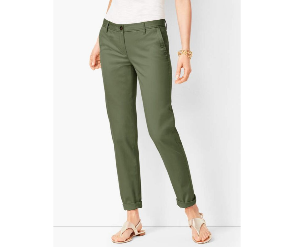 September Favorites green chinos