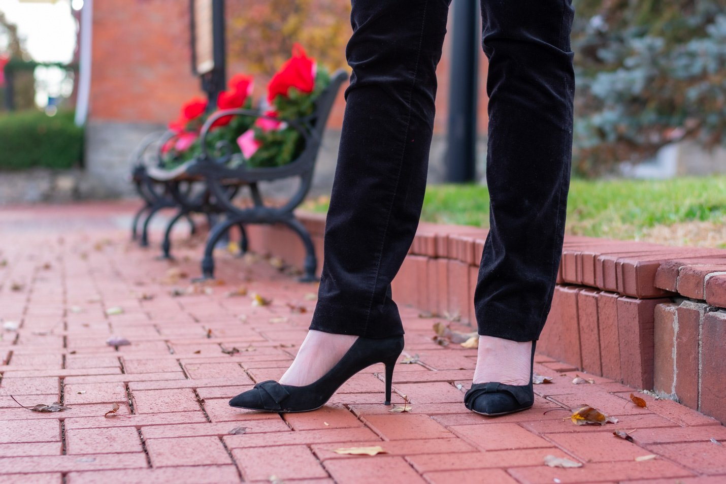 black velvet pants & black pumps