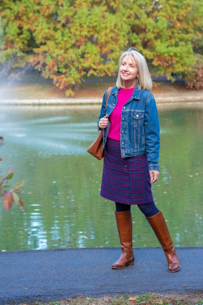 Plaid Wool Skirt and Denim Jacket