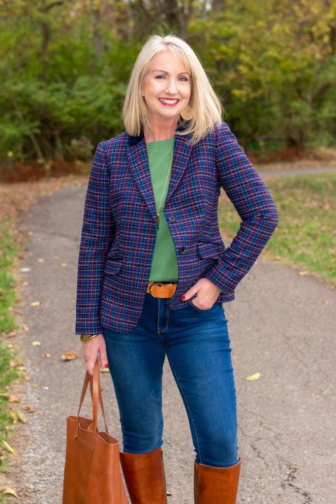 Plaid blazer and Jeans