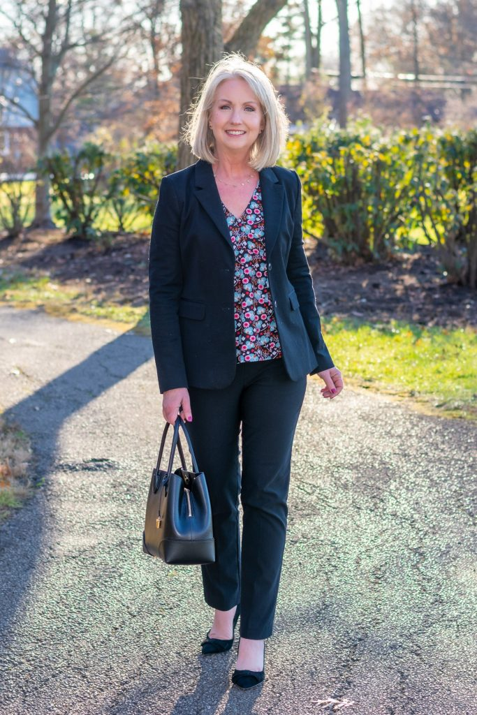 Classic Work Look with a Dark Floral Print Blouse