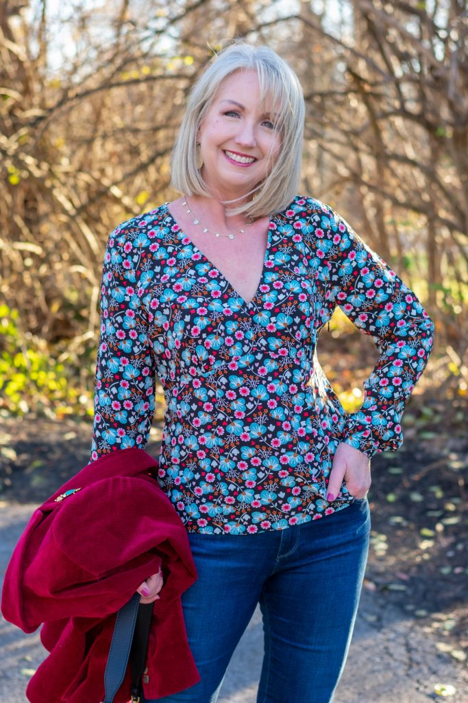 Dark Floral Print blouse