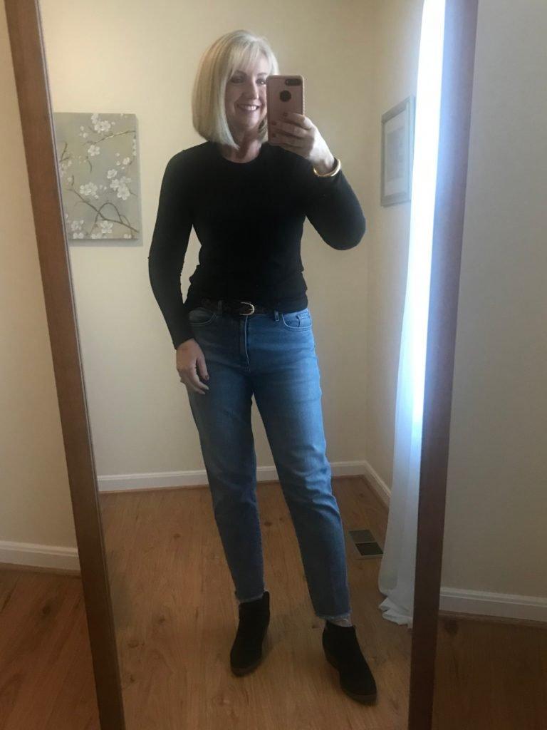 Straight Ankle Jeans & Black Tee