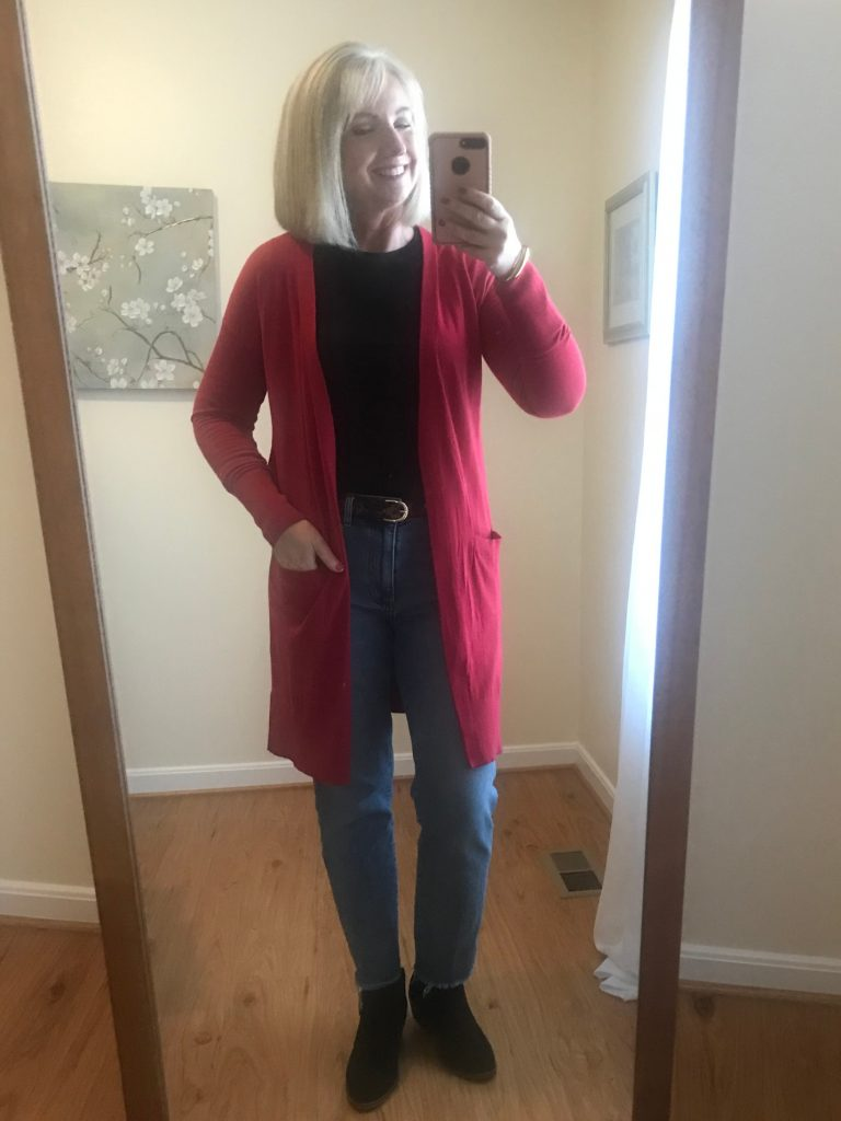 with red cardigan