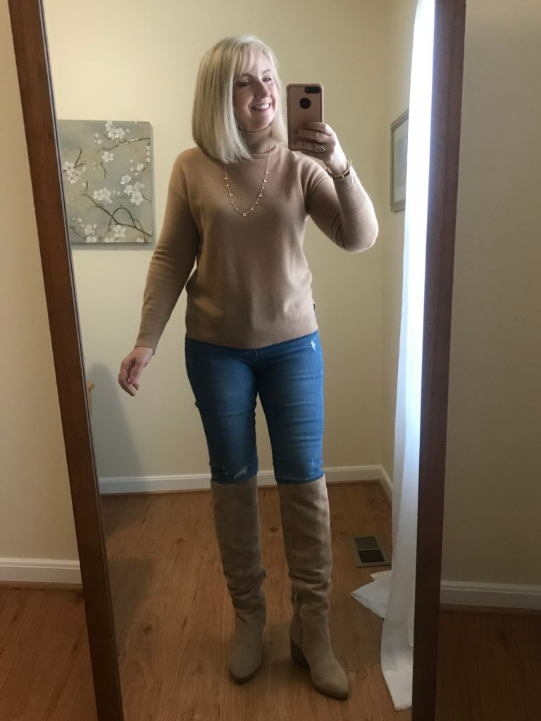 Camel Turtleneck and Boots