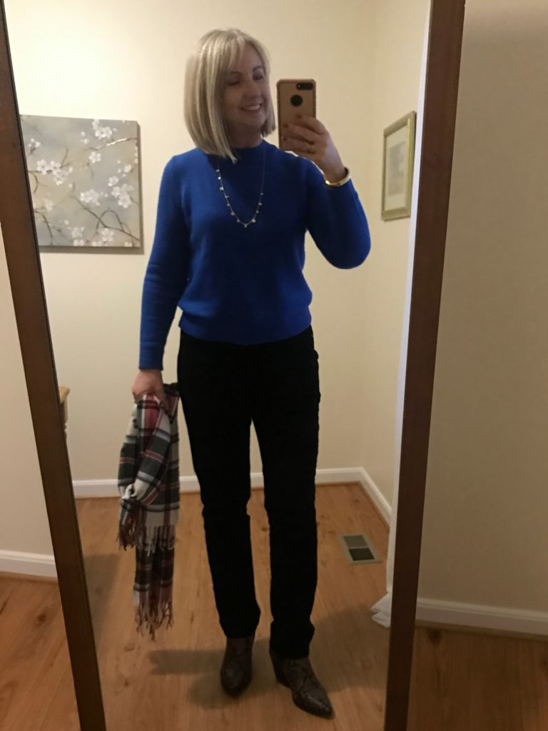 Blue Crew Neck Sweater and Cords