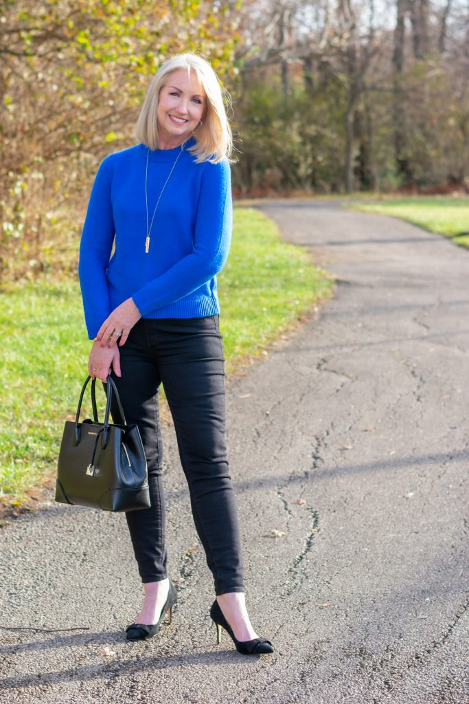 blue pullover sweater