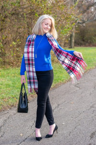 tartan plaid fringed scarf