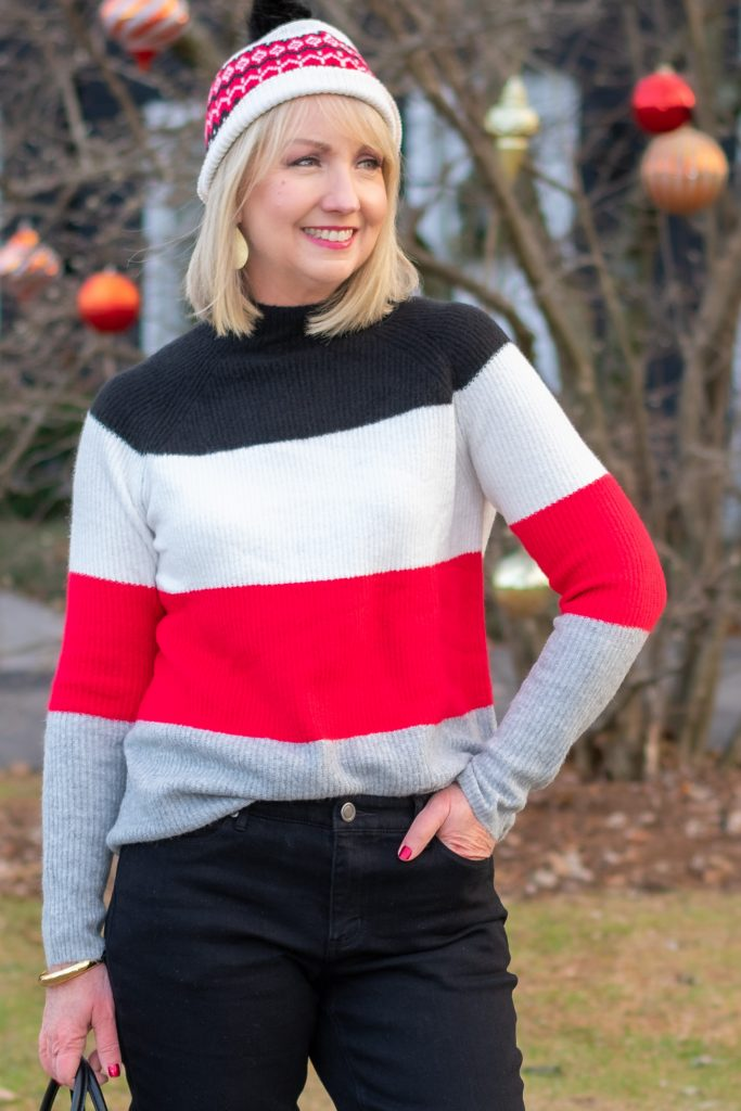 Red and black Striped Sweater