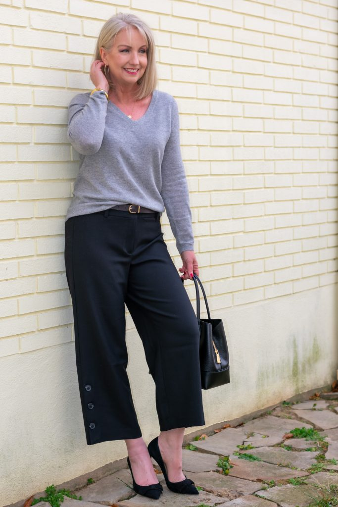 Black Cropped Pants and Grey Sweater Neutrals
