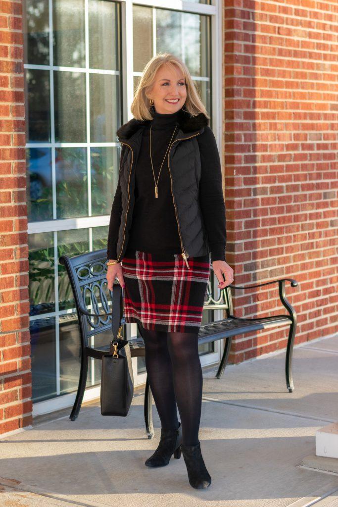Plaid Wool Blend Skirt
