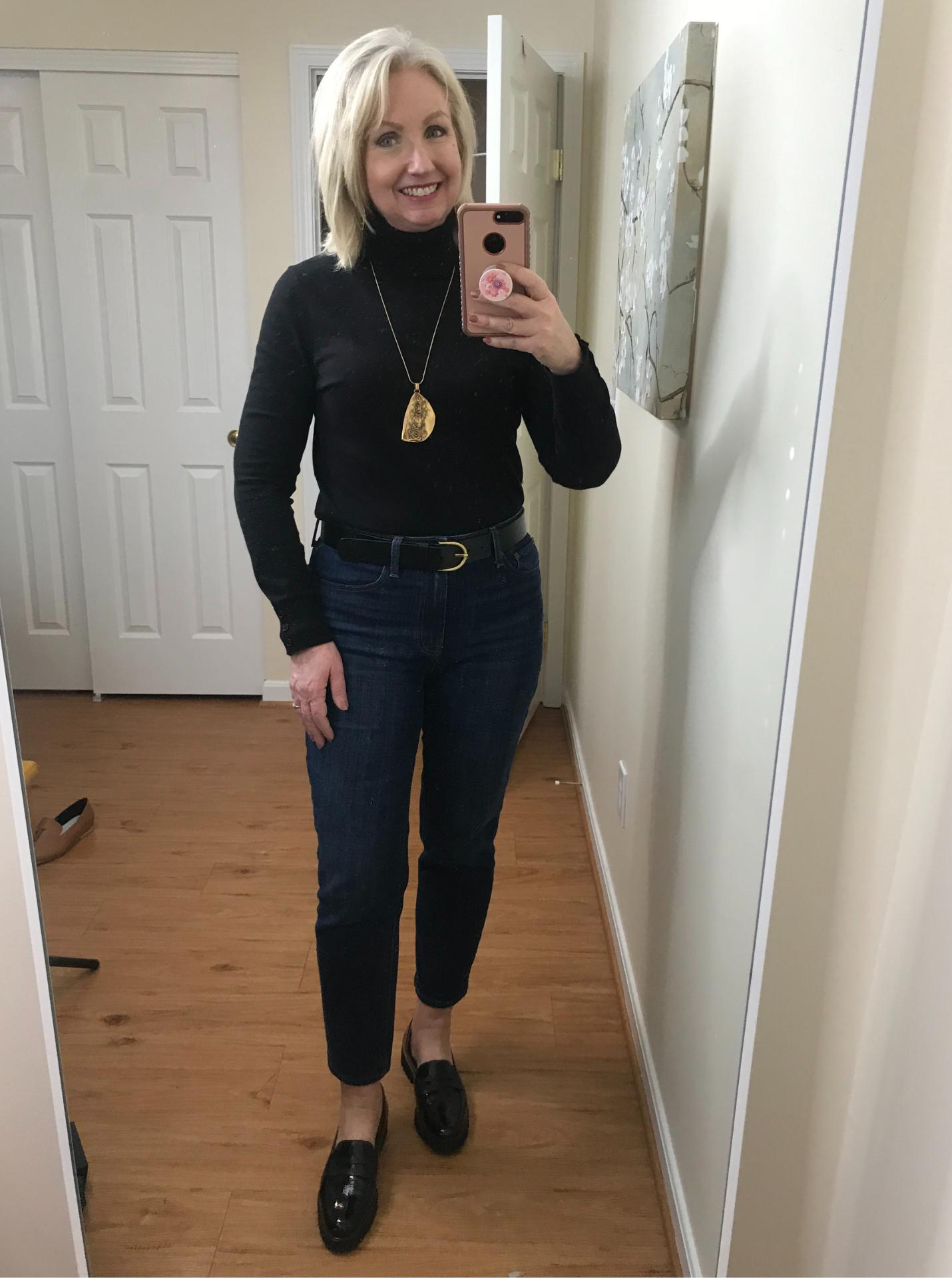 Ankle Jeans Black Turtleneck Tucked Belted Black Loafer