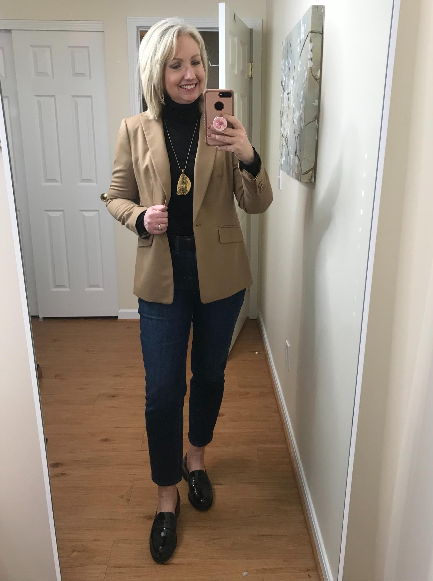 Ankle Jeans Black Turtleneck Tucked Belted Black Loafer Jacket