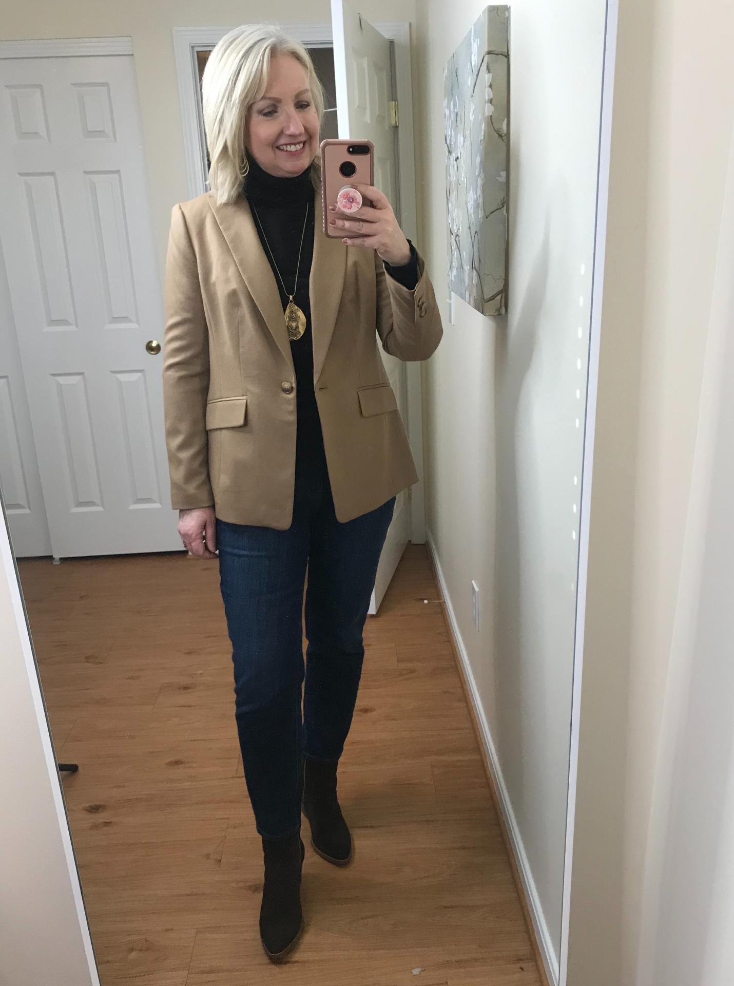 Ankle Jeans Black Turtleneck Tucked Belted Brown Boots Jacket