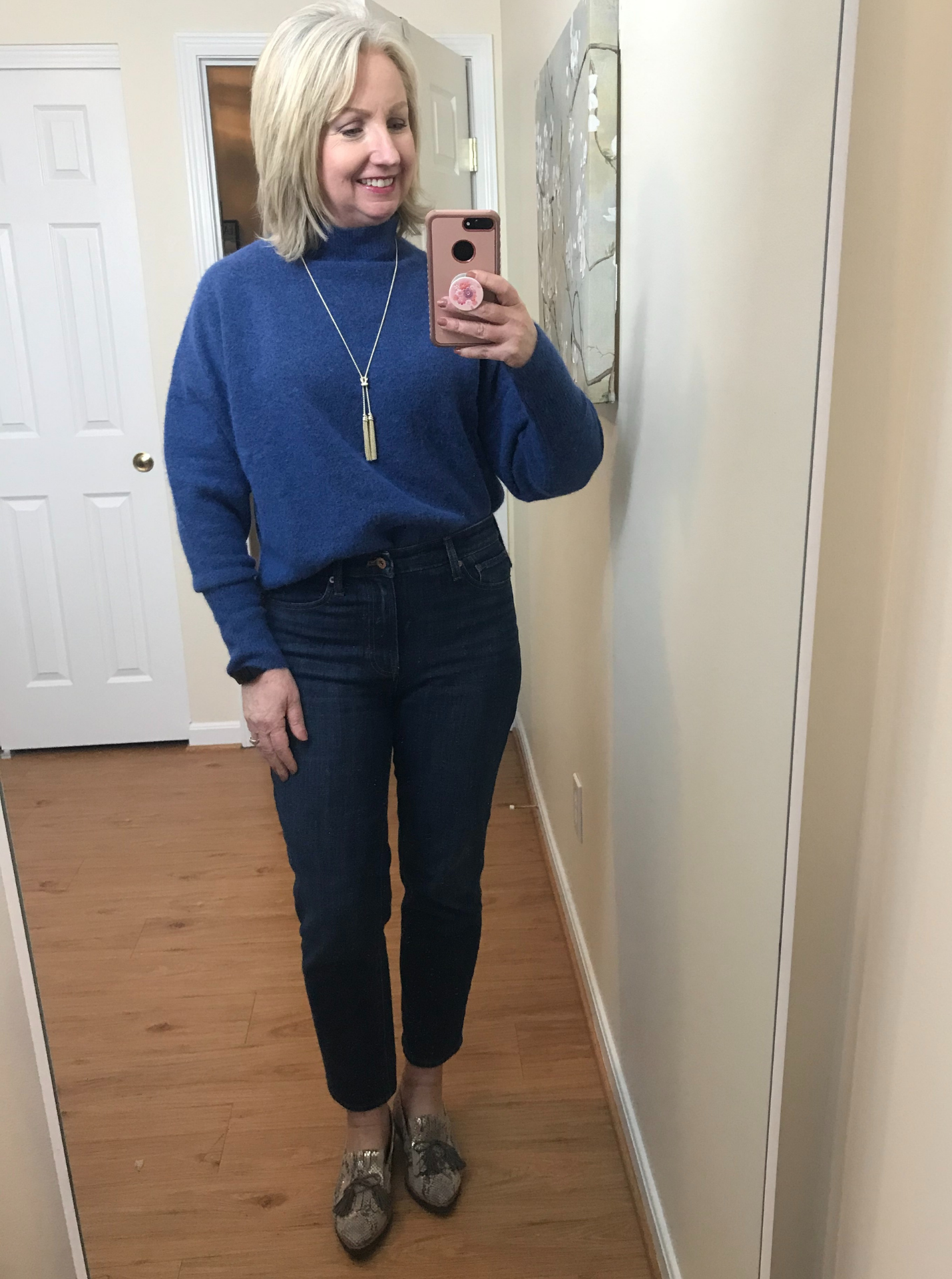 Ankle Jeans Cropped Blue Sweater Front Tuck PG Loafers