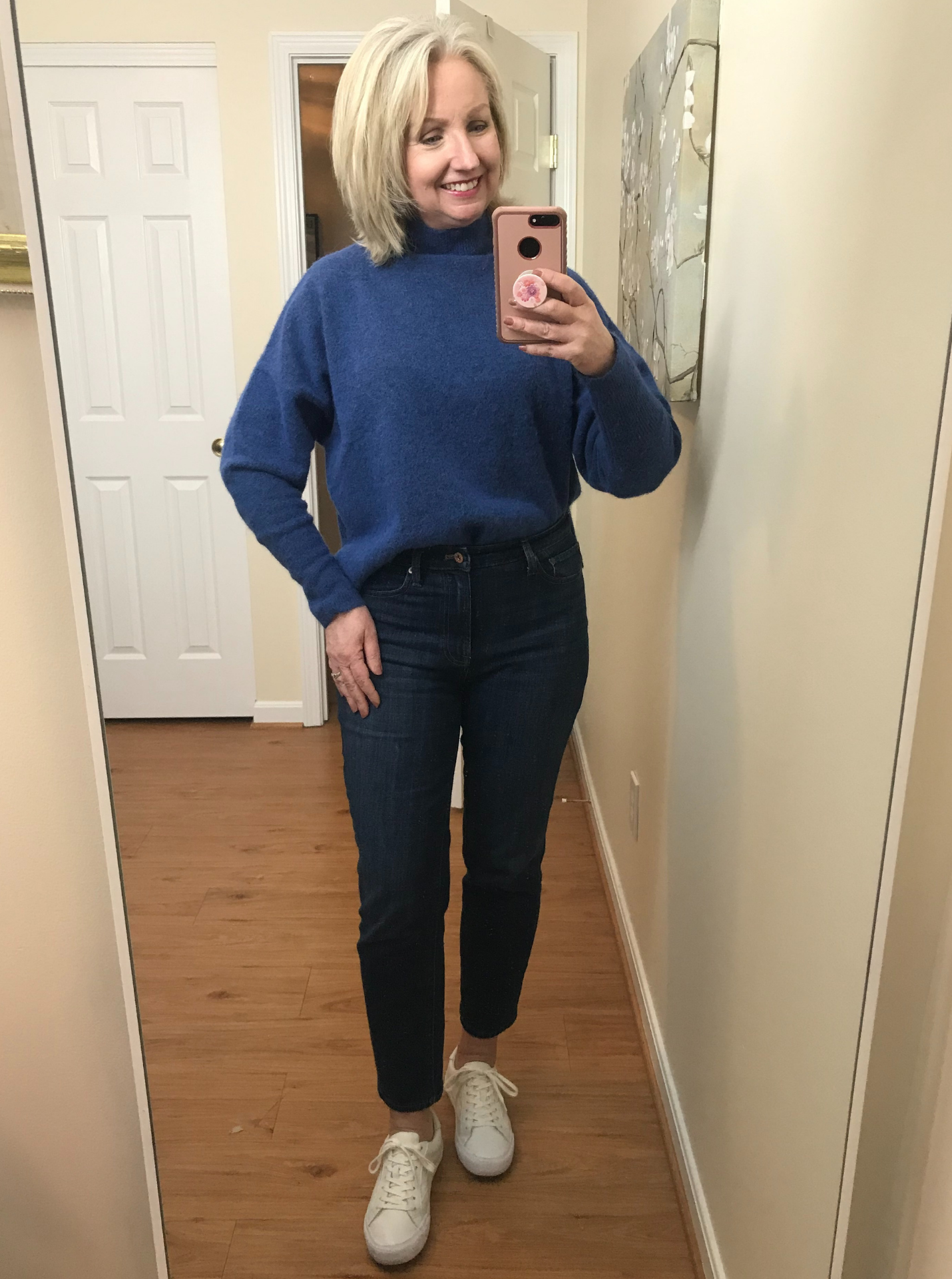 Ankle Jeans Cropped Blue Sweater Front Tuck White Sneakers
