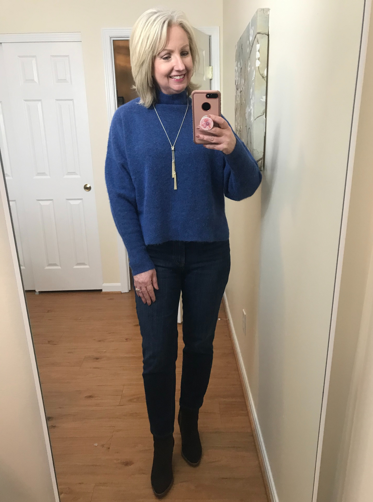 Ankle Jeans Cropped Blue Sweater No Tuck Brown Suede Boots