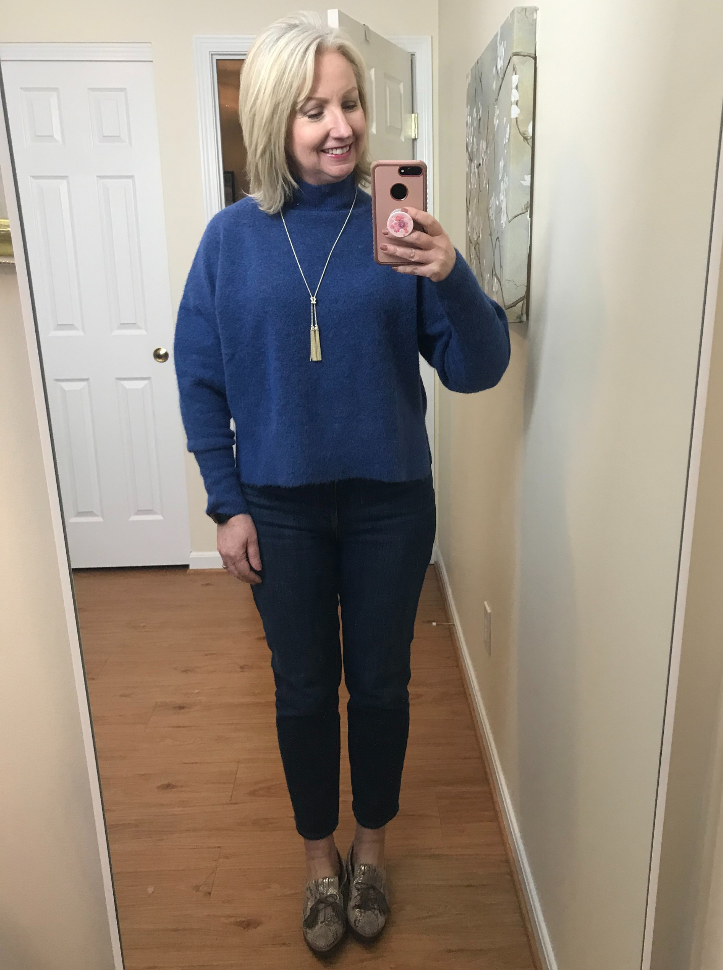 Ankle Jeans Cropped Blue Sweater No Tuck PG Loafers