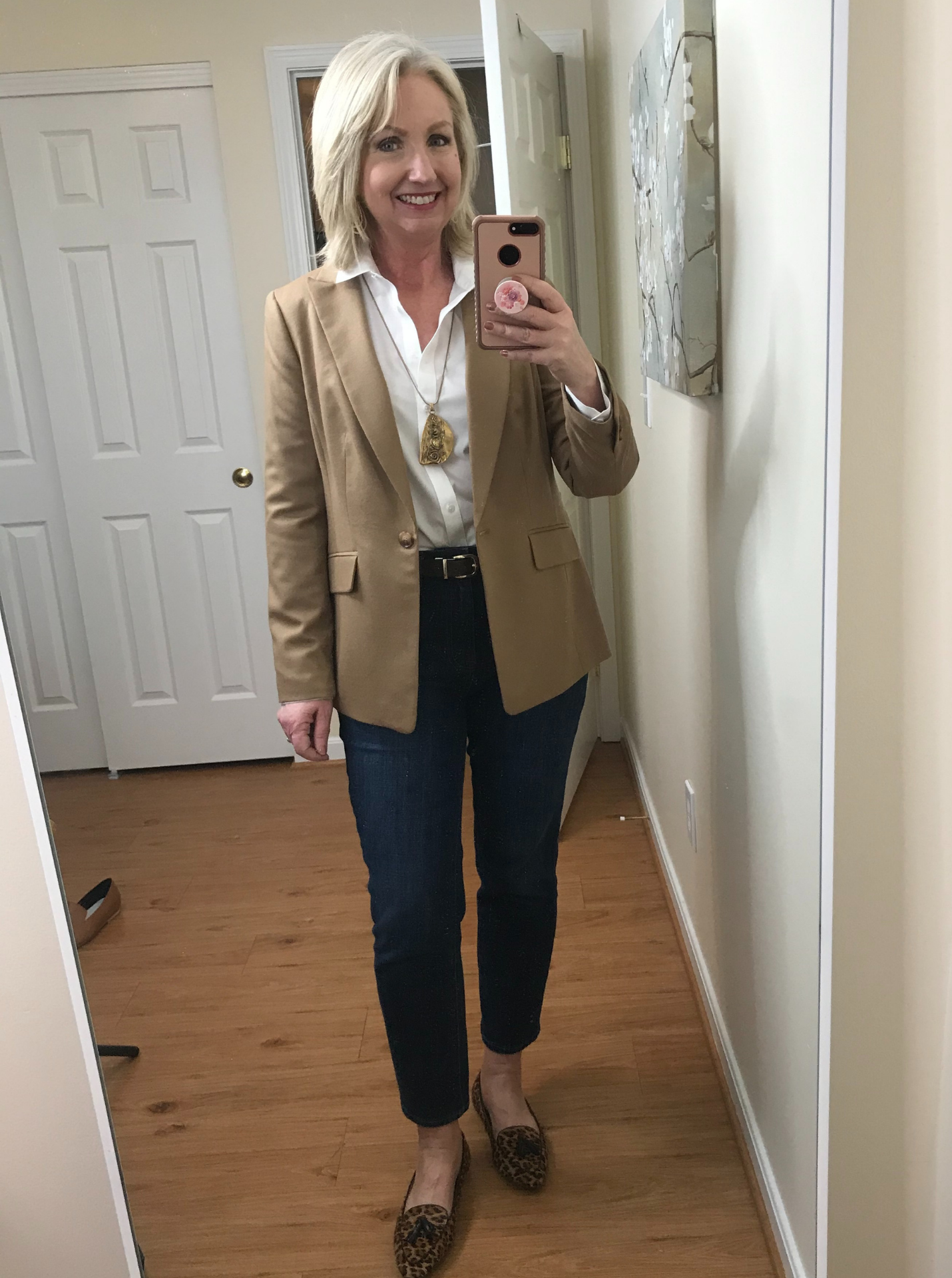 Ankle Jeans White Shirt Full Tuck Belt Leopard Flats Camel Jacket