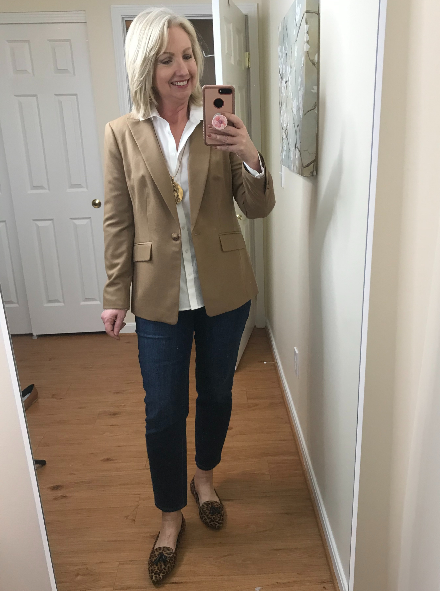 Ankle Jeans White Shirt No Tuck Belt Leopard Flats Camel Jacket